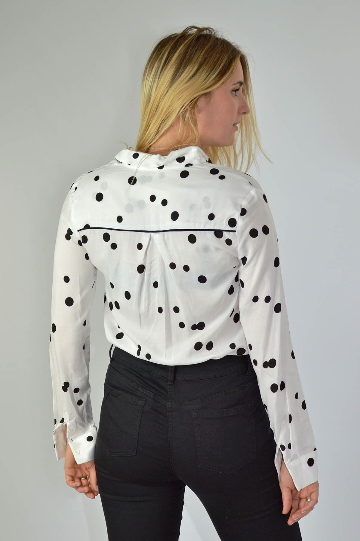 NEXT-Black-White-Spotted-Long-Sleeve-Silky-Shirt-Blouse-SALE-Was-24 thumbnail 14