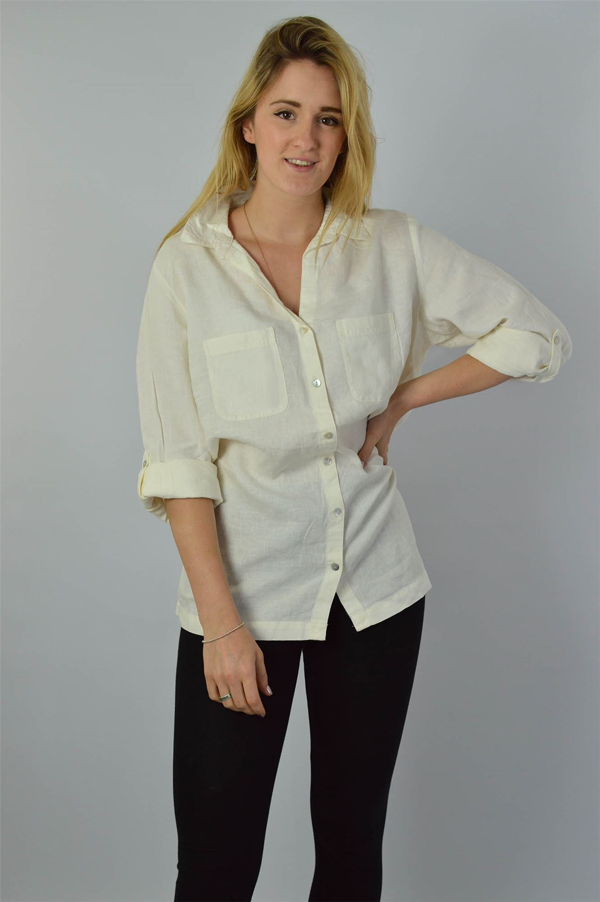 YESSICA-Linen-Blouse-Shirt-in-Pink-or-Ivory-RRP-25 thumbnail 7