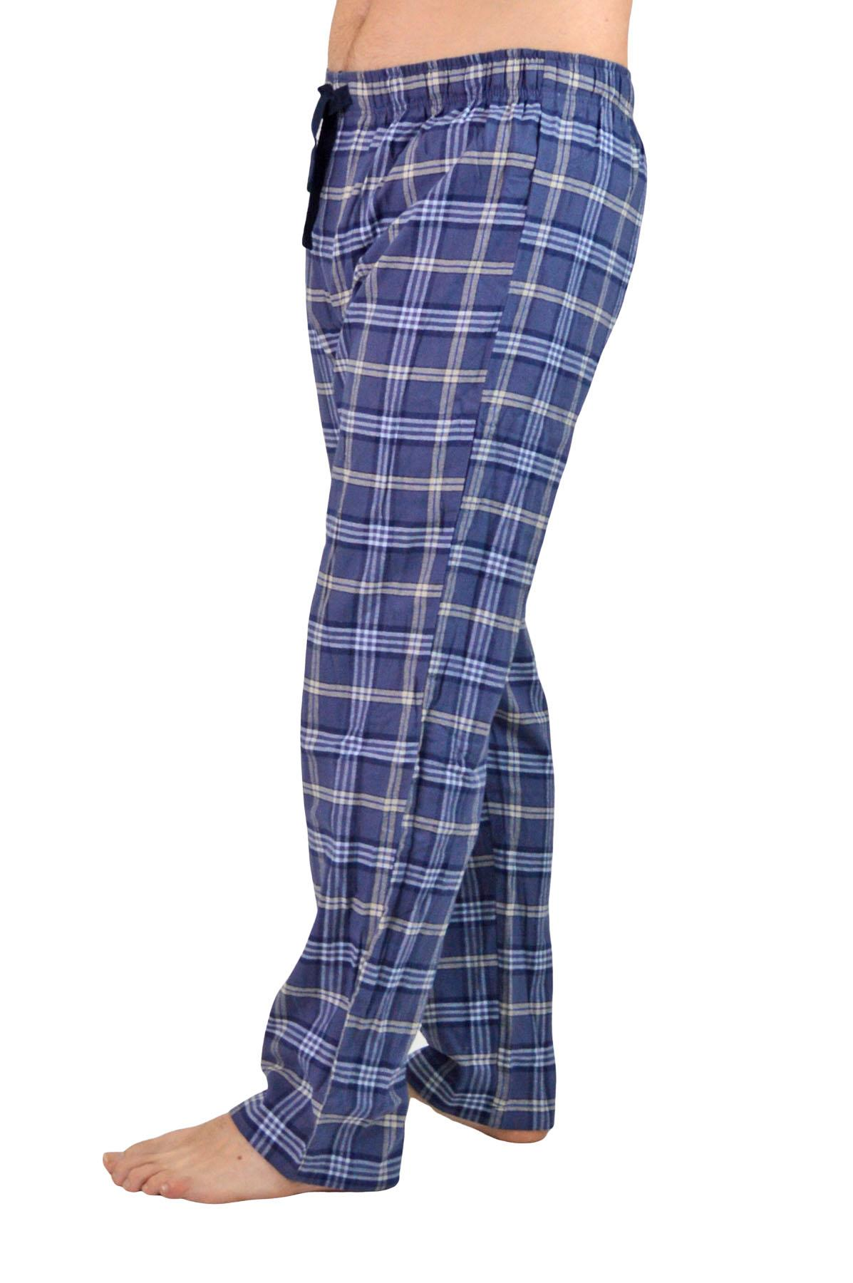 NEW-Mens-Brushed-Pure-Cotton-Check-Pyjamas-Flannelette-PJ-Set-in-Blue-Red-Grey thumbnail 3