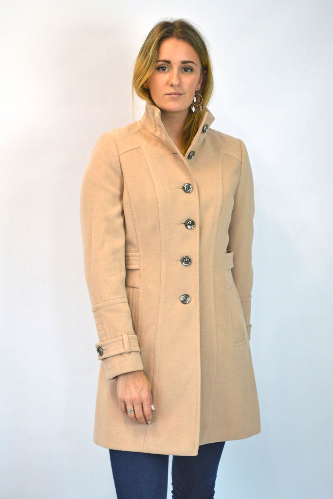 NEW-Ex-Wallis-Funnel-Neck-Button-Down-Winter-Coat-in-Beige-or-Black-Size-8-16 thumbnail 5