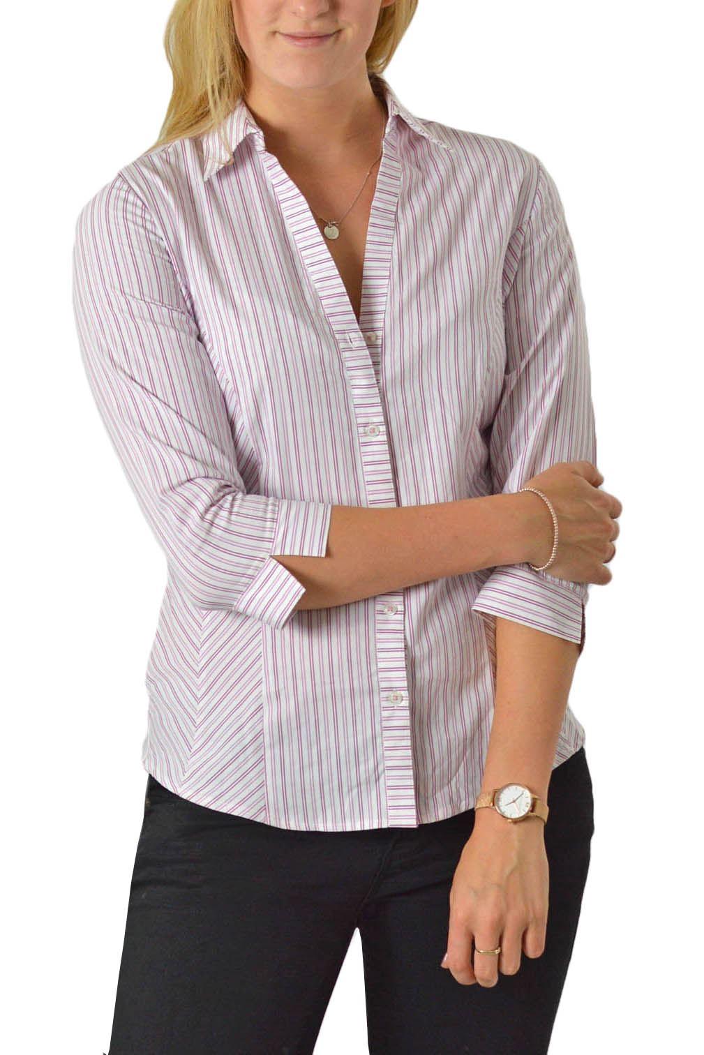 Ex-M-amp-S-Camisa-a-Rayas-Damas-Camisa-Marks-y-Spencer-Tuck-Frontal-Superior-Tallas-8-24 miniatura 8