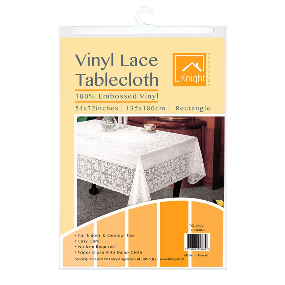 Crochet Lace Vinyl Tablecloth Vintage Look Modern Design Protect