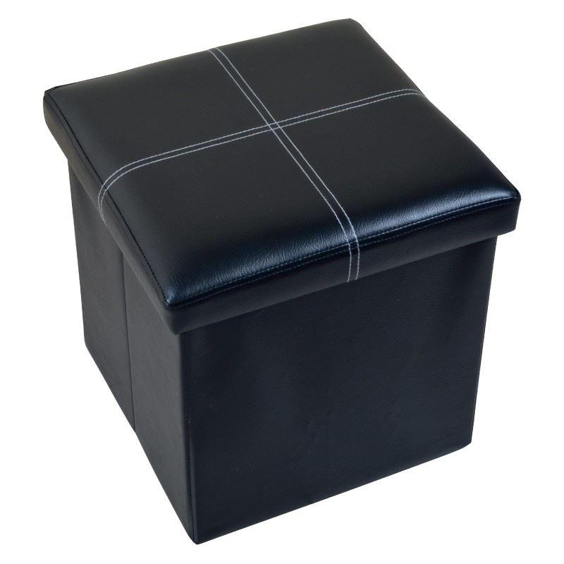 Folding Storage Faux Leather Ottoman Toy Box Pouffe Bench Single ...
