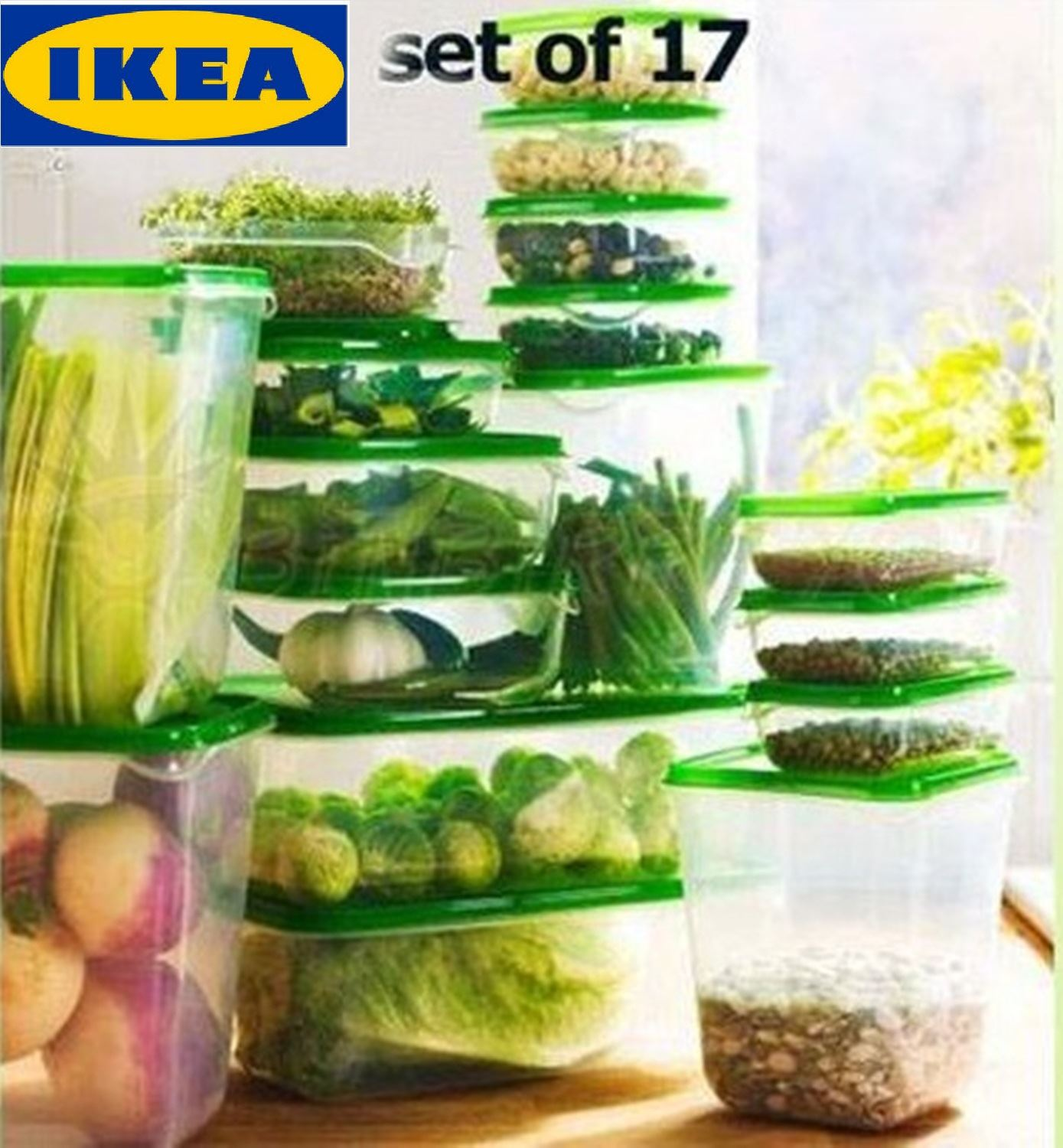 Kitchen Storage Plastic Containers Part - 47: IKEA PRUTA Set 17 Pcs High Quality Plastic Transparent Food Storage  Containers