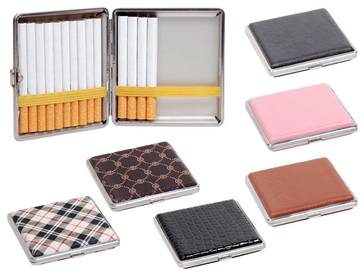 Pocket Tobacco Tin Box Case Faux Leather Slim 20 Cigarette Holder Protector
