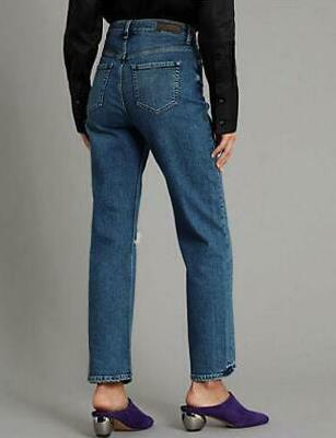 Women/'s Ex M/&S Wide Cropped High Rise Jeans UK 10 Regular Blue