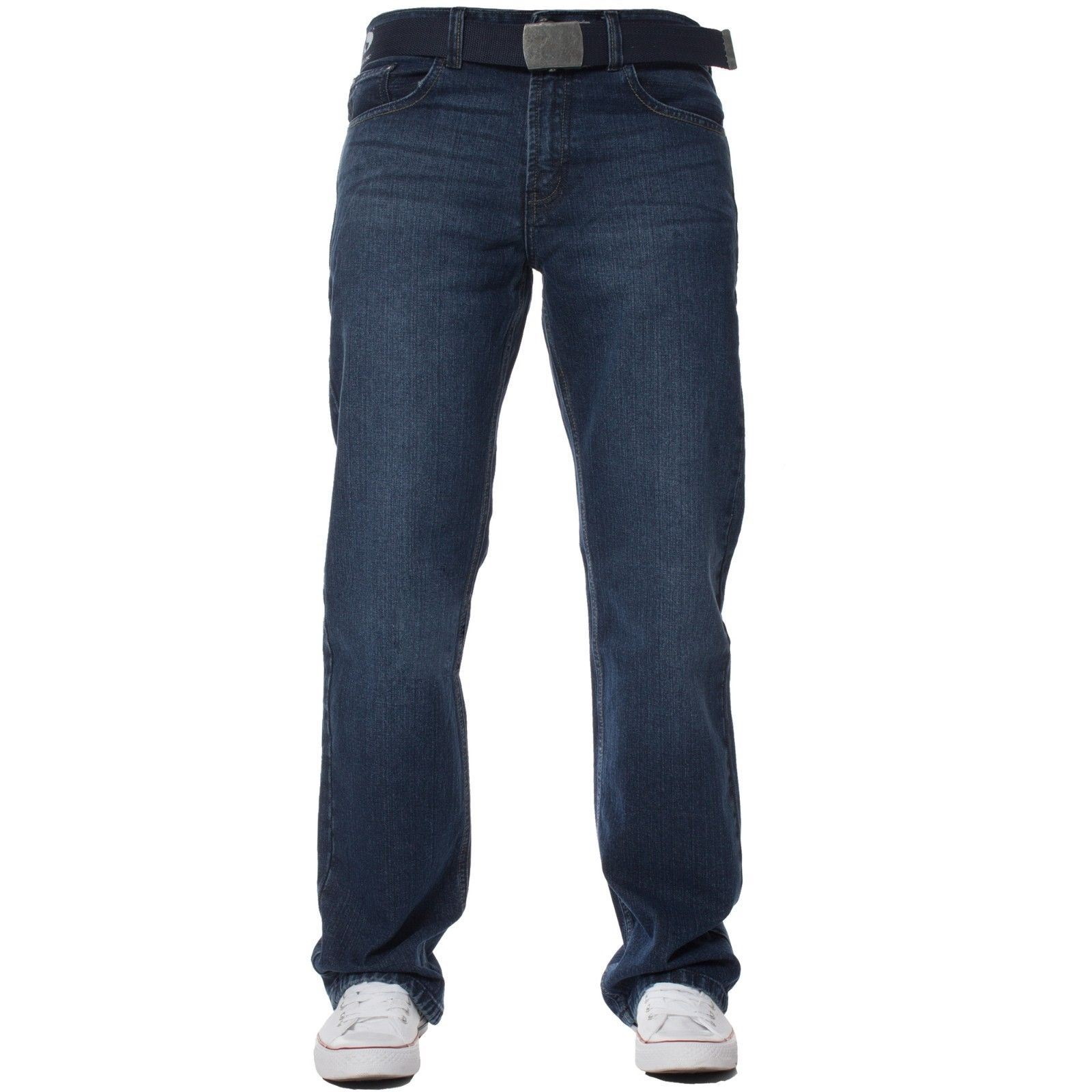Mens-Straight-Leg-Jeans-Regular-Fit-Denim-Pants-Cotton-Free-Belt-All-Waist-Sizes thumbnail 4