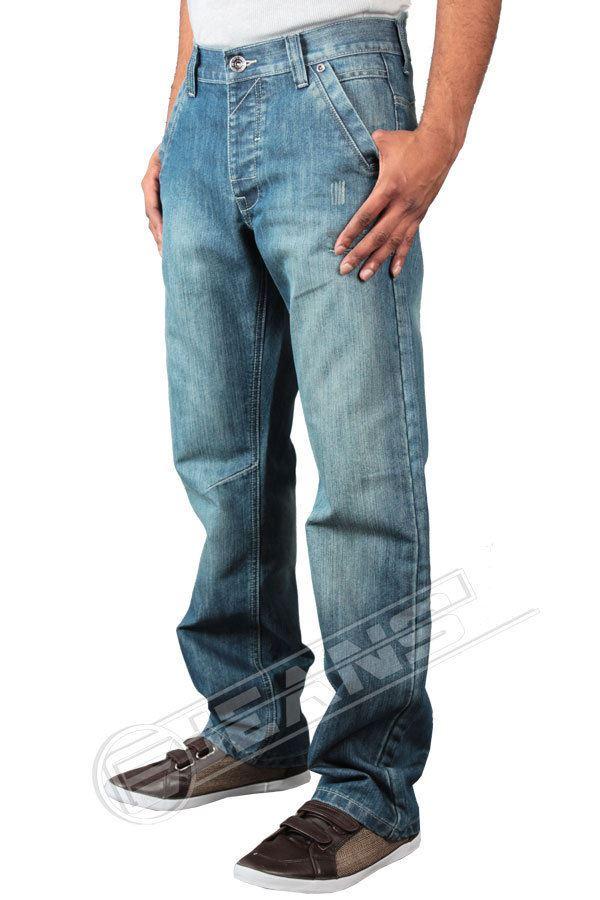 New Mens Enzo Ez156 Straight Leg Light Stonewash Jeans Sizes 28-42