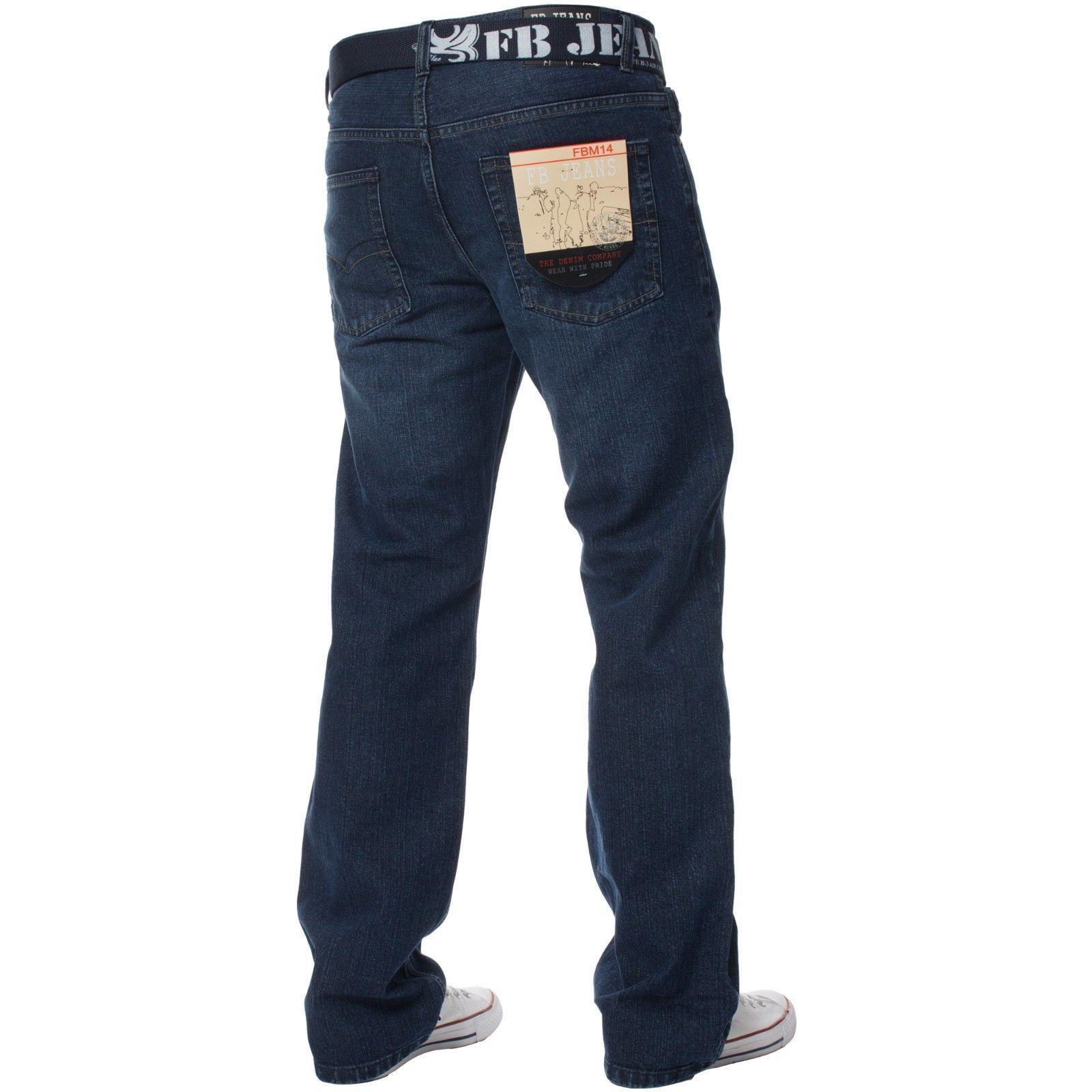 Mens-Straight-Leg-Jeans-Regular-Fit-Denim-Pants-Cotton-Free-Belt-All-Waist-Sizes thumbnail 3