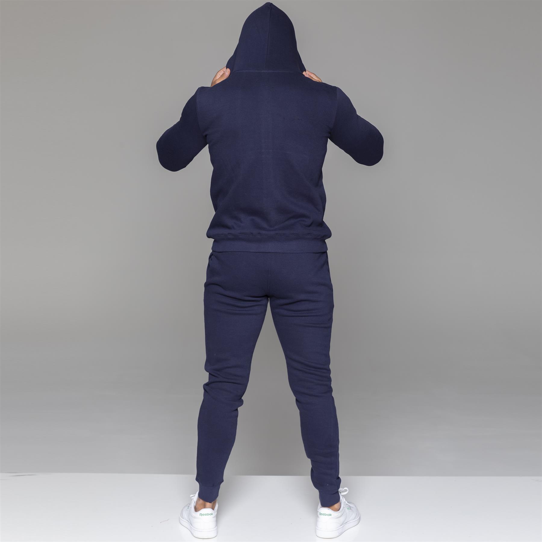 miniatura 25 - Tuta Integrale da Uomo MyT Set Felpa Con Cappuccio E Cerniera Felpa Con Cappuccio Jogging Bottoms Pantaloni Sportivi
