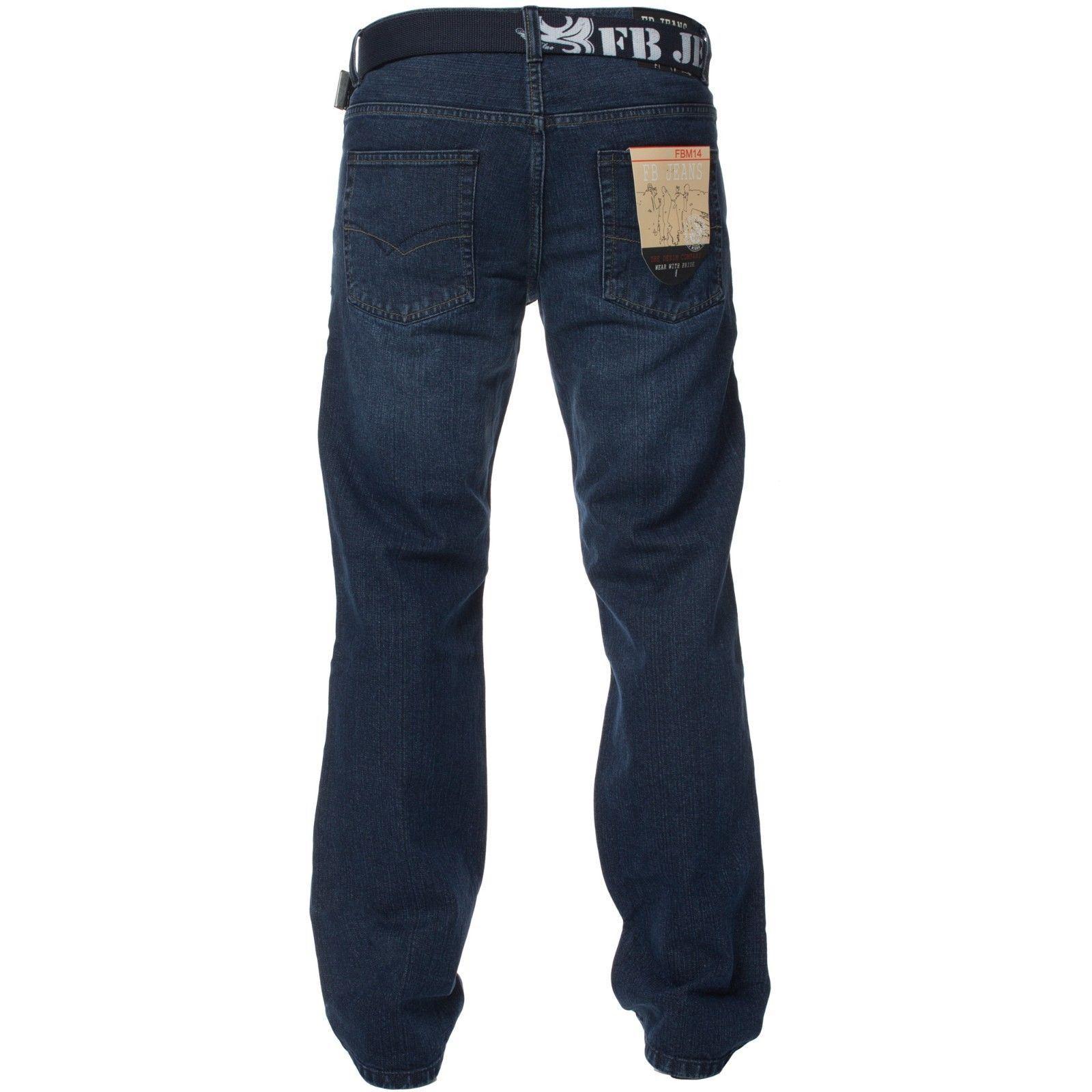 Mens-Straight-Leg-Jeans-Regular-Fit-Denim-Pants-Cotton-Free-Belt-All-Waist-Sizes thumbnail 5