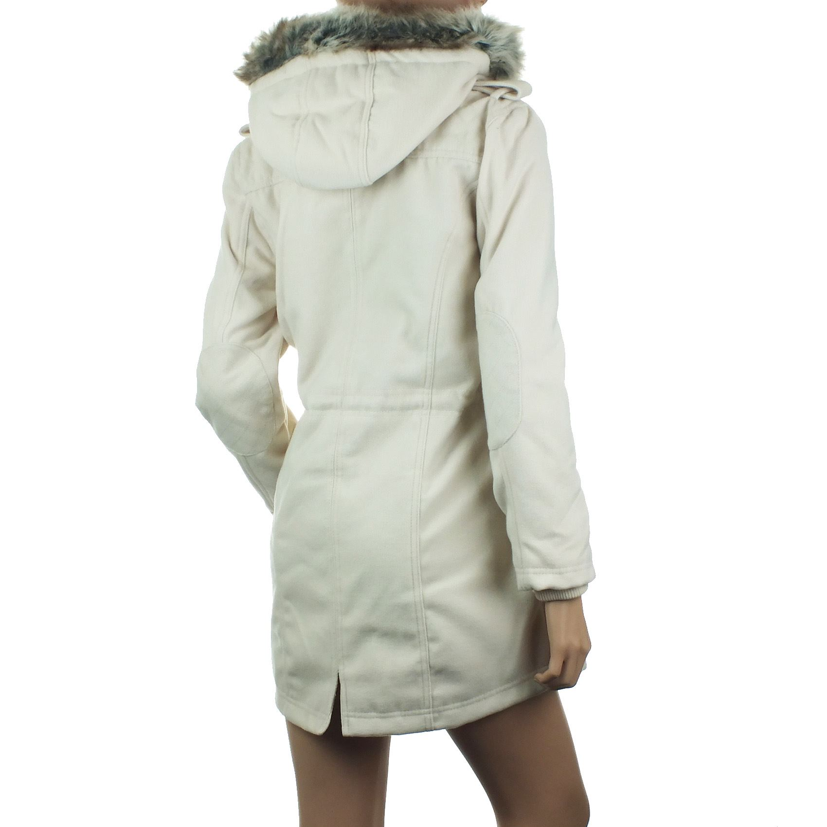 Ladies Parka Coat Womens Winter Jacket Faux Fur Hood Cream ...