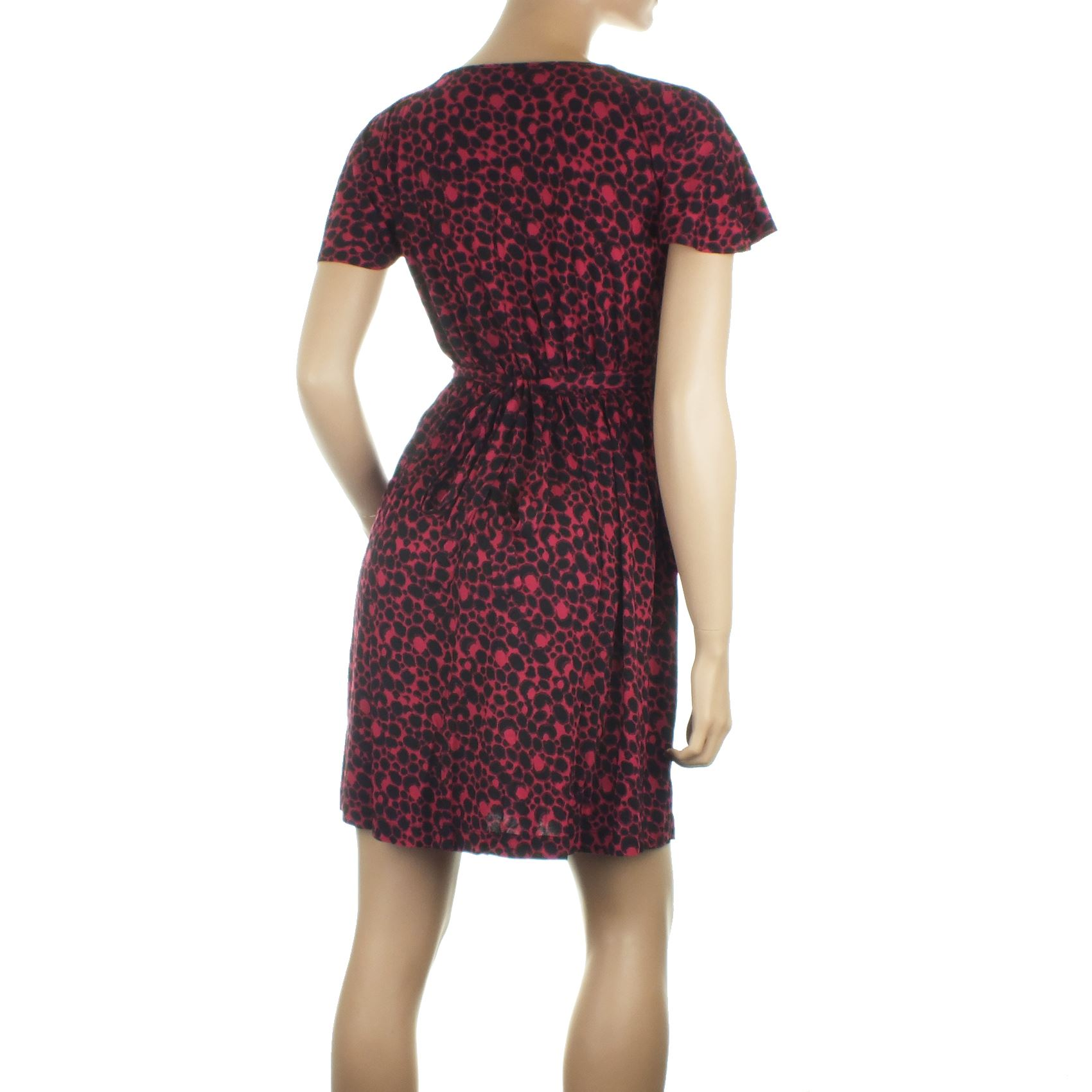 Ex-French-Connection-Summer-Jersey-Tea-Dress-Spot-Print-Tie-Back-Womens-Size-4-6