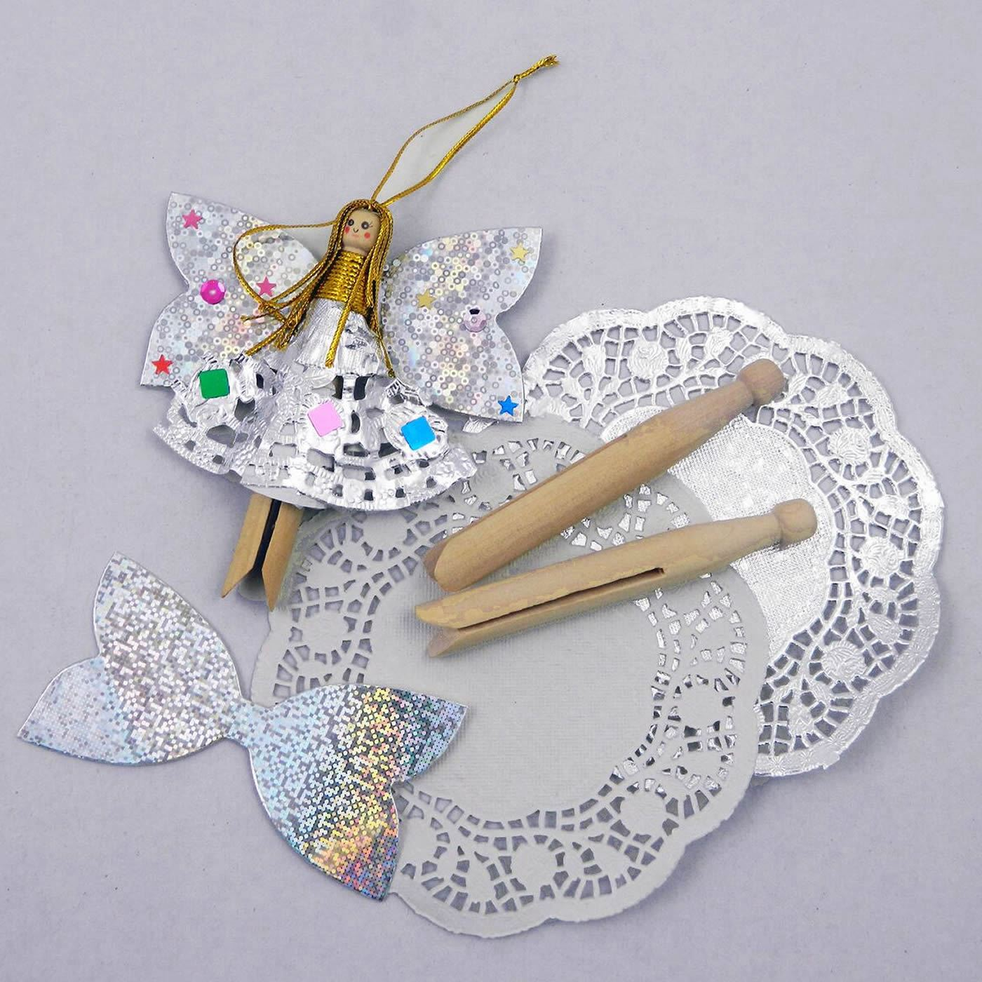 Make your own doll peg angels set of 10 dolly pegs for Craft angels to make