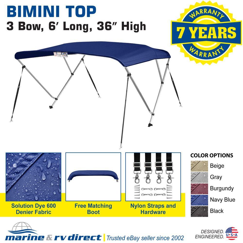 Bimini-Top-Boat-Cover-36-034-High-3-Bow-6-039-ft-L-x-79-034-84-034-W-NAVY-BLUE