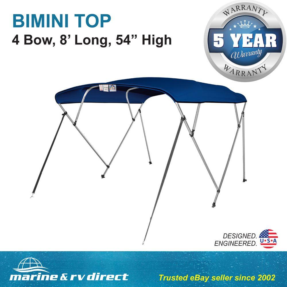 "84/"" W 8/'  Long Solution Dye 600D Black Bimini Top Boat Cover 4 Bow 54/"" H 79/"""