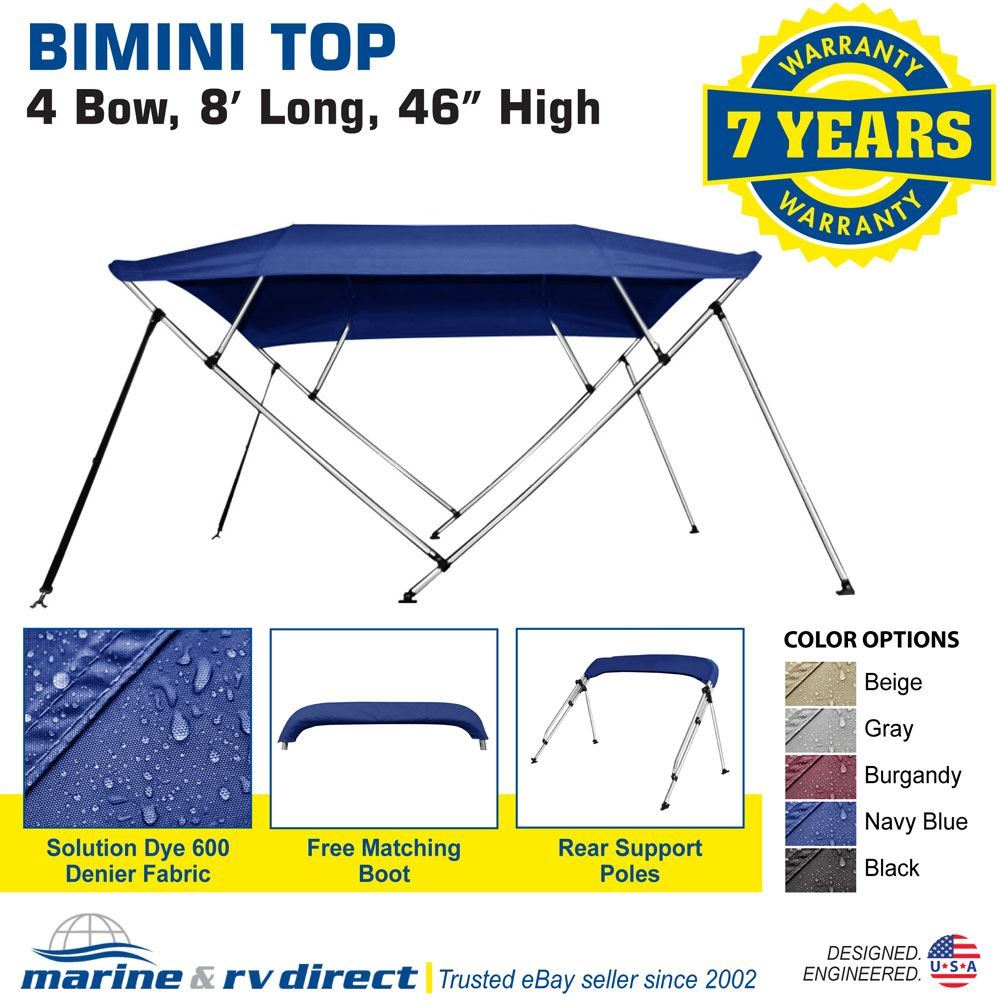 "78/"" W 8 ft Bimini Top Boat Cover 4 Bow 54/"" H 73/"" L Solution Dye Navy Blue"