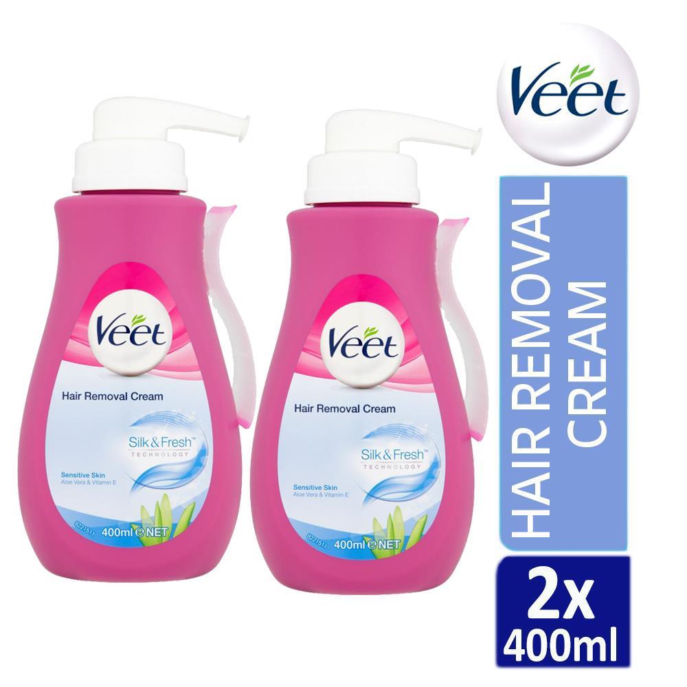 2 X Veet Silk Fresh Hair Removal Cream 400ml For Sensitive Skin With Aloe Vera 5011417544099 Ebay