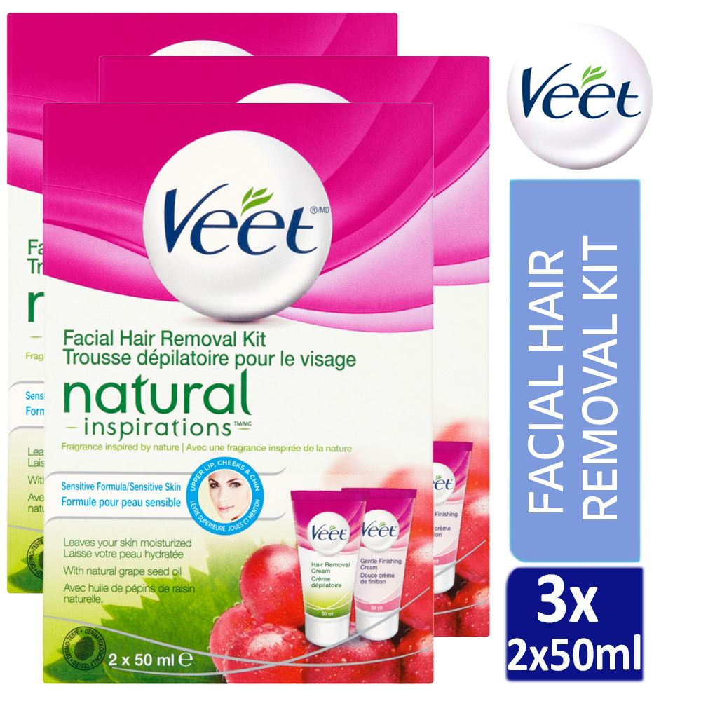 3 X Veet Natural Inspirations Facial Hair Removal Cream Kit