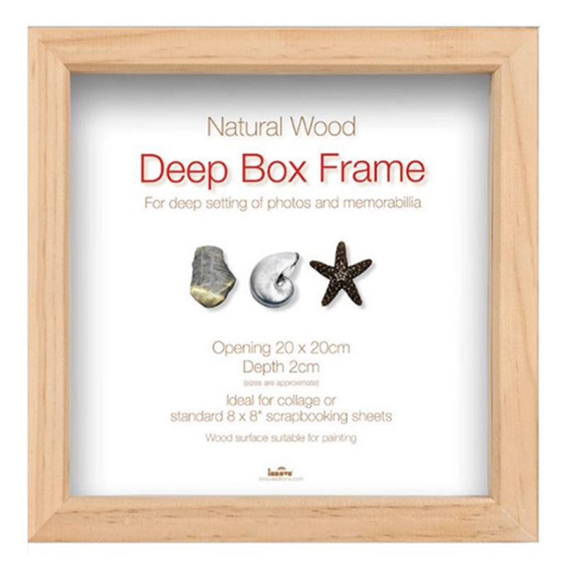 Innova Natural Wooden Brown Standard Deep Box Picture Frame 20 X 20