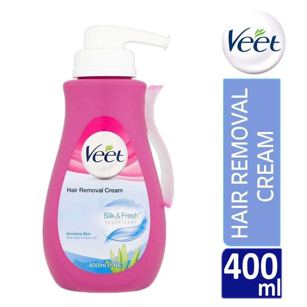 Veet Silk Fresh Hair Removal Cream 400ml Pump Sensitive Skin With Aloe Vera 5011417544099 Ebay
