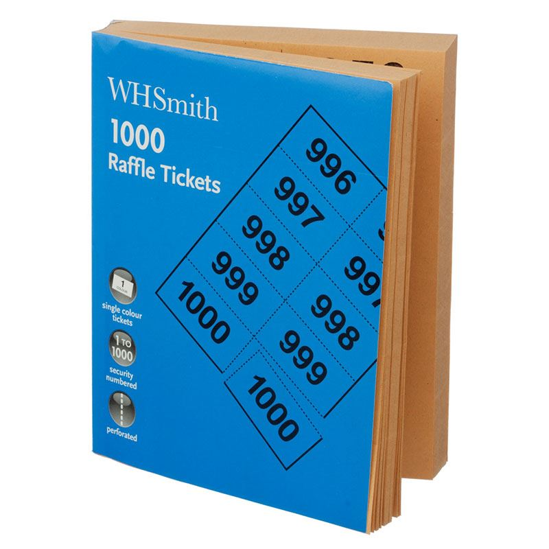 whsmith single colour perforated raffle tickets security numbered