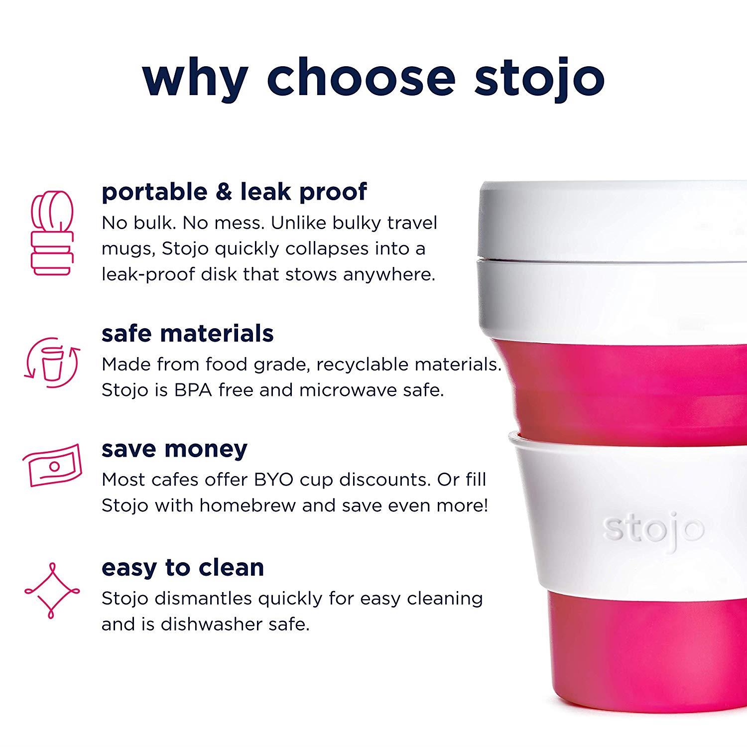 Stojo On The Go Coffee CupPocket Size Collapsible Silicone Travel Cup Pink