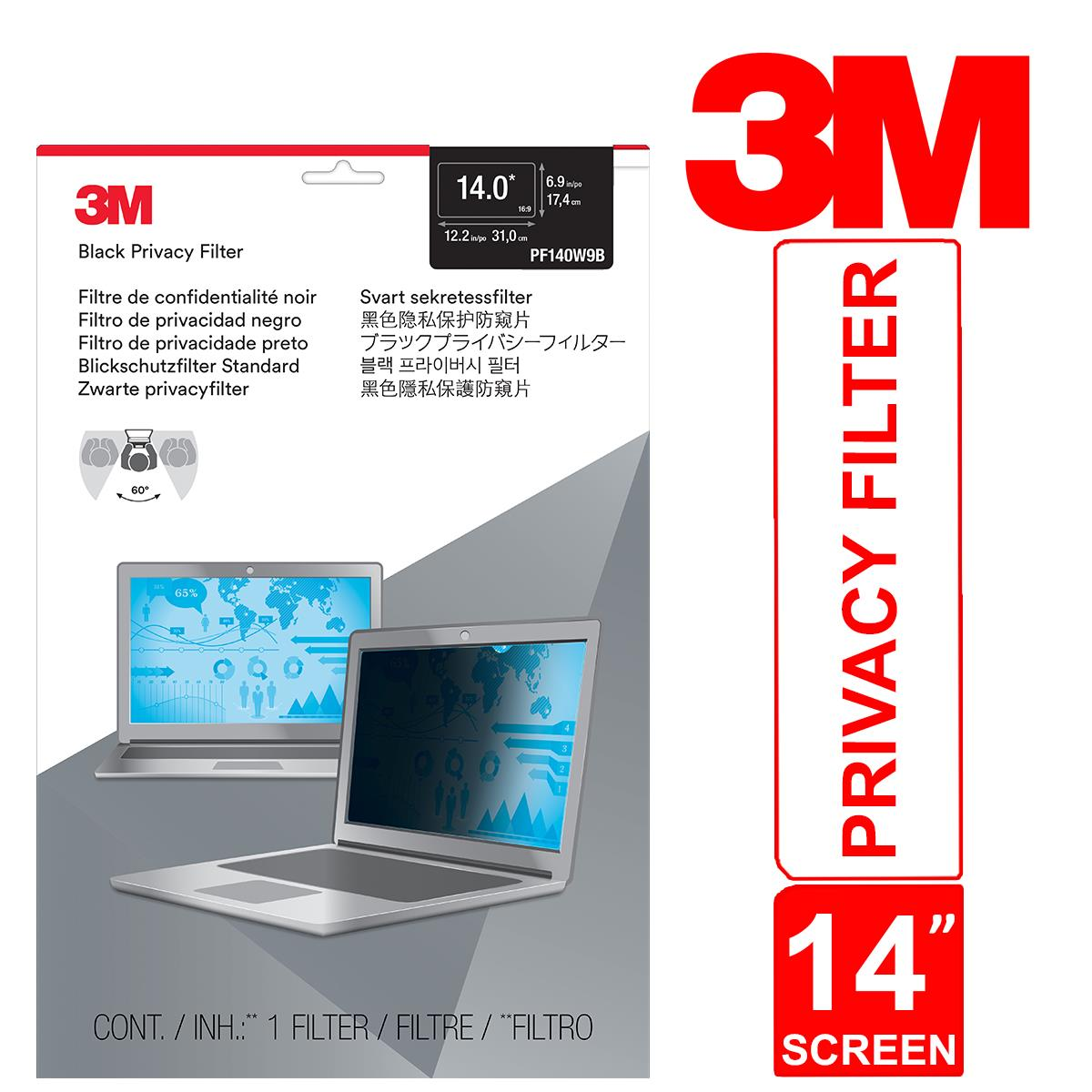 Type: Monitors//Privacy /& Screen Protectors 3M Pf14.0W Privacy Filter For Widescreen Notebooks Black Prod 16:9