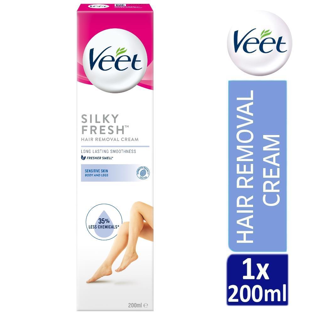 Veet Silk Fresh Hair Removal Cream 200ml For Sensitive Skin With Aloe Vera 5011417540169 Ebay