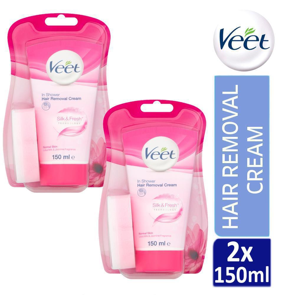 2 X Veet In Shower Hair Removal Cream 150ml For Normal Skin Lotus