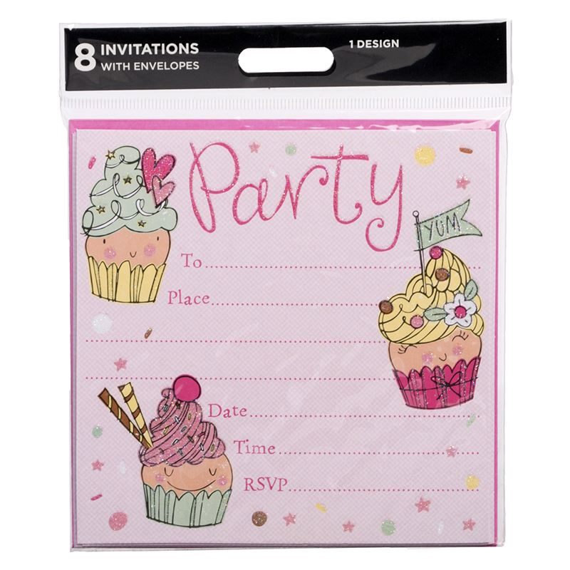 Details About Whsmith Pink Cupcake Party Invitation Blank Cards With Pink Envelopes Pack Of 8