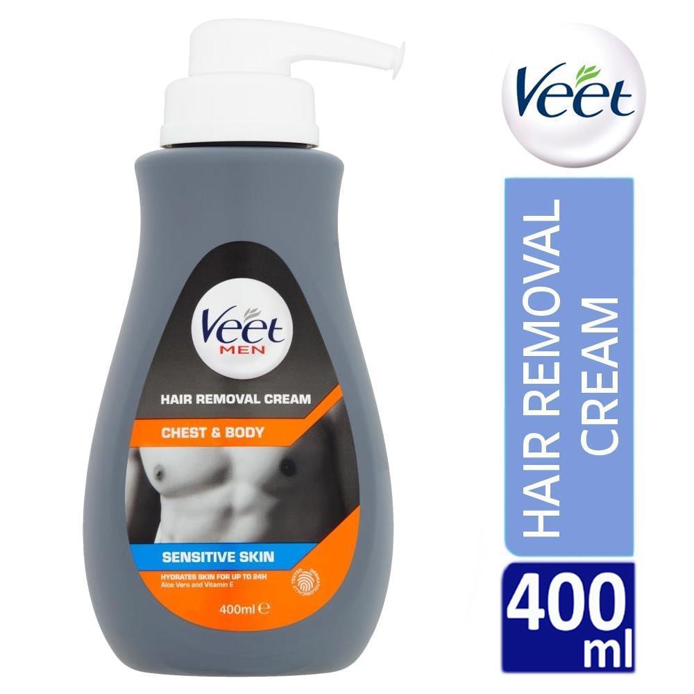 Veet Men Chest  U0026 Body Hair Removal Cream 400ml For Sensitive Skin With Aloe Vera