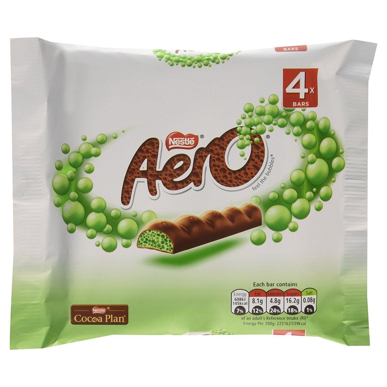 Aero Mint Chocolate Bubbly Bar 4 x 27g Pack - British Chocolate | eBay