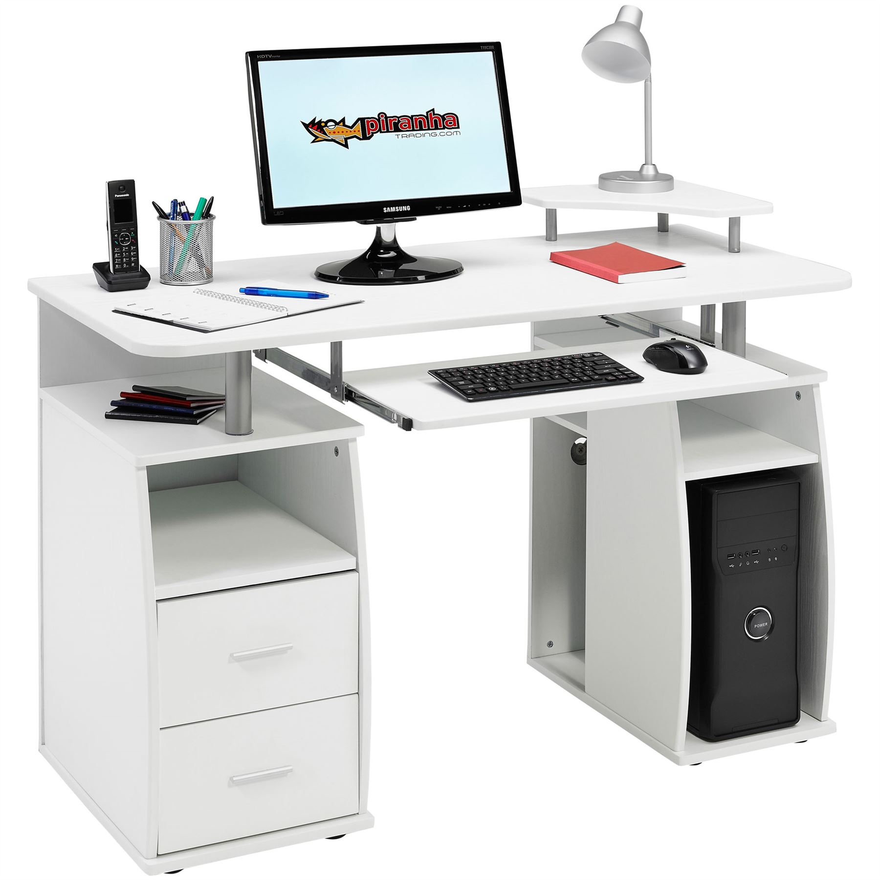gro er computer schreibtisch arbeitstisch schubladen regalf chern ablagen piranh ebay. Black Bedroom Furniture Sets. Home Design Ideas
