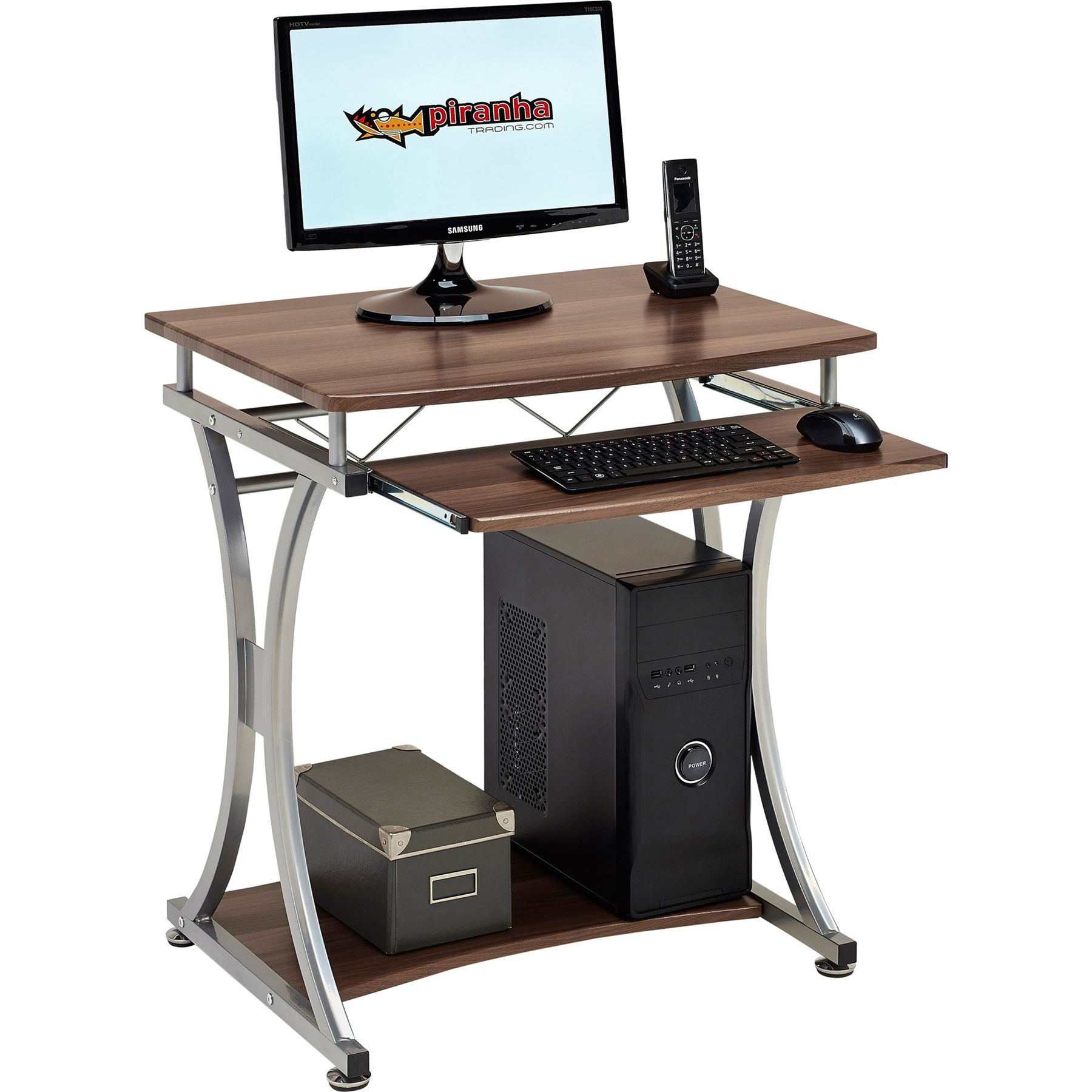 Compact Computer Desk With Keyboard Shelf For Home Office