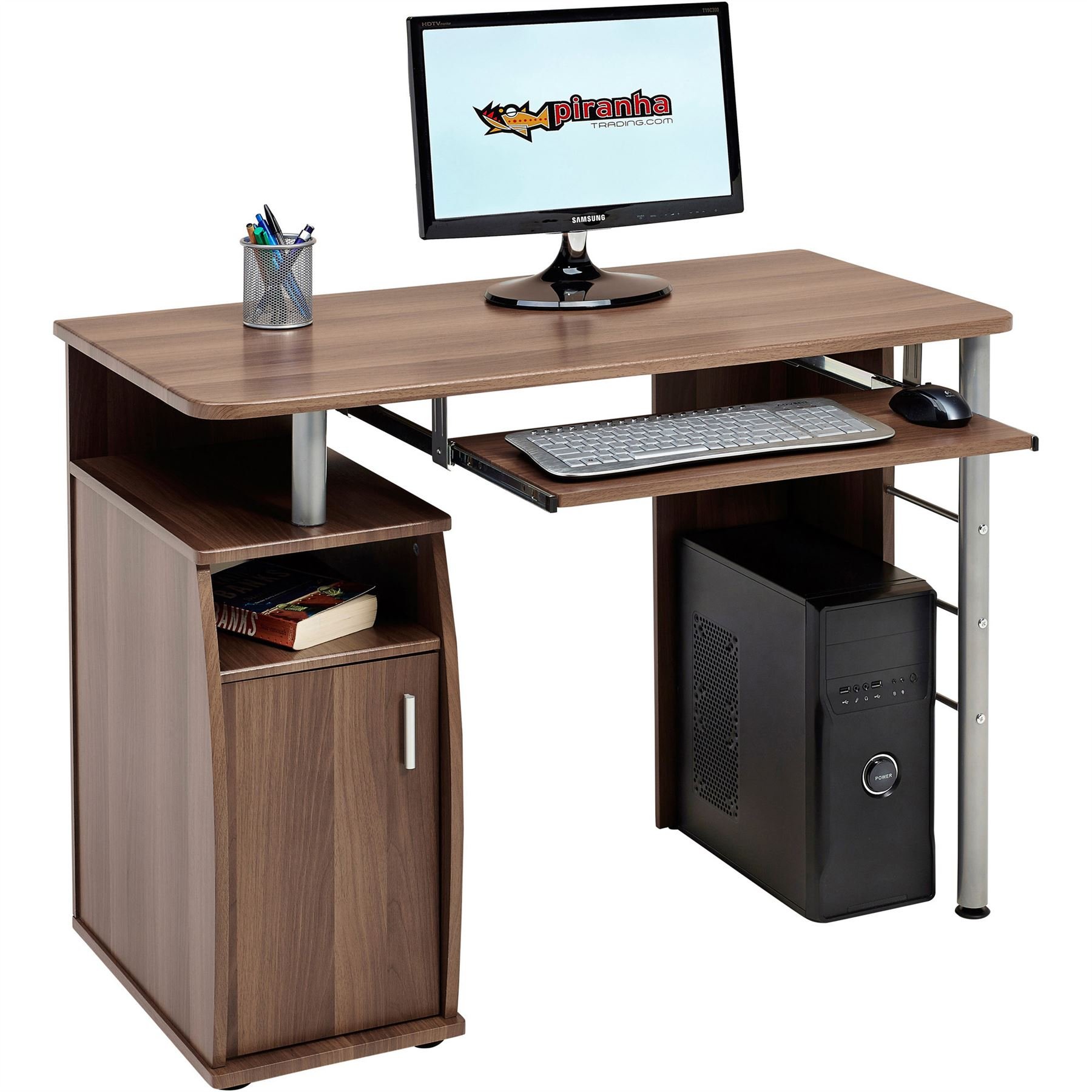 Computer Desk With Cupboard Shelves Storage For Home