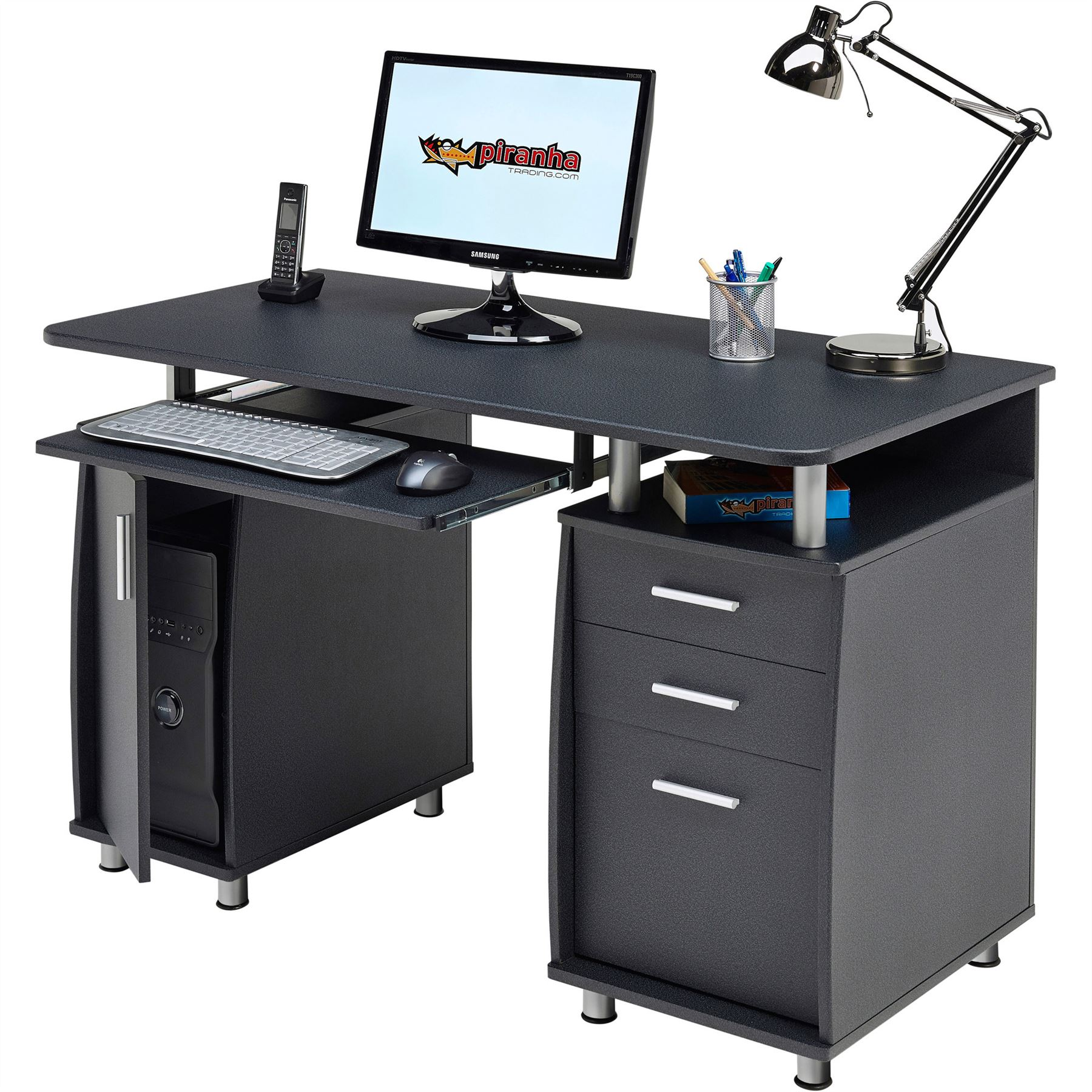 Computer Desk with Storage & A4 Filing Drawer Home Office - Piranha Emperor PC 2 | eBay