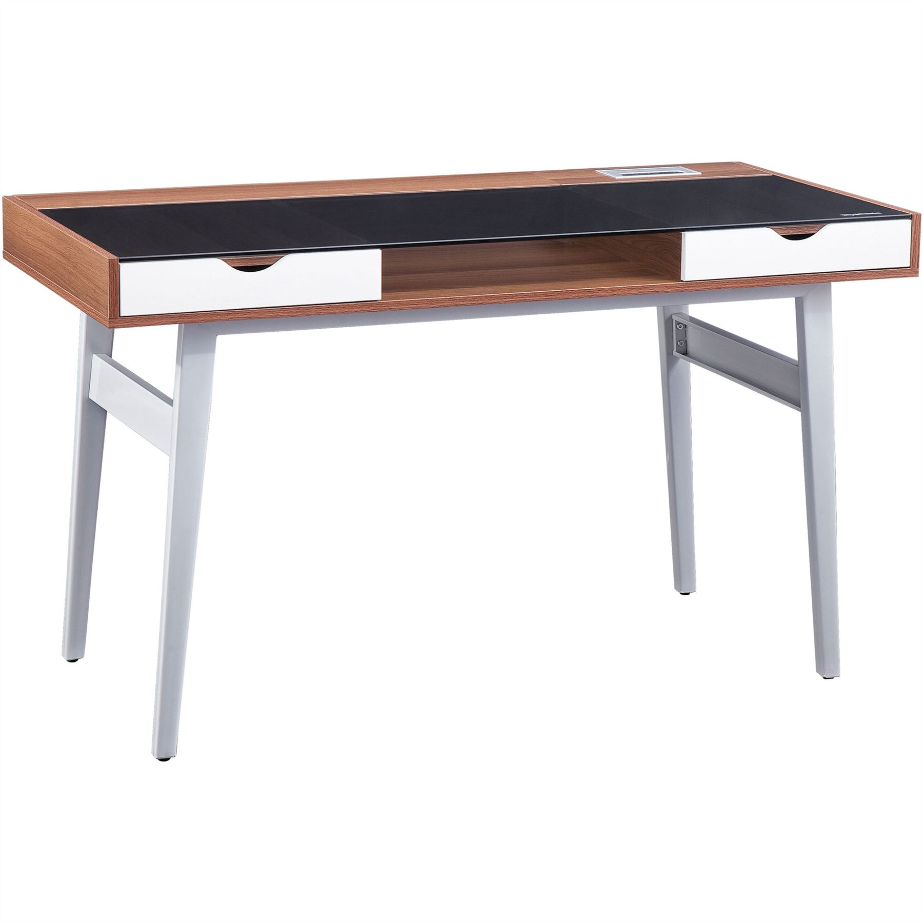 retro glass desk with drawers furniture for home office. Black Bedroom Furniture Sets. Home Design Ideas
