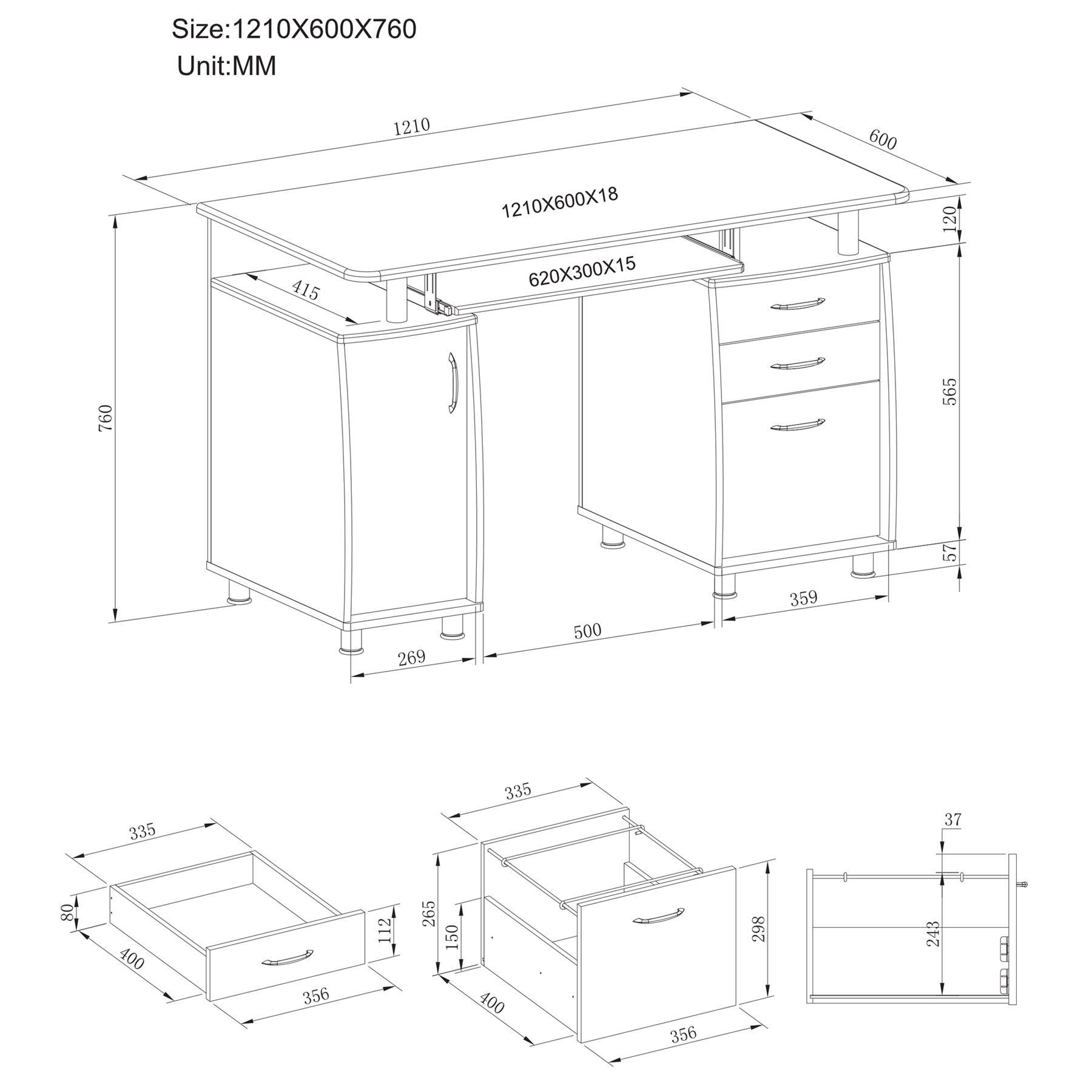 Computertisch Schreibtisch Arbeitsplatz Unterschrank Schubladen PIRANHA PC 2w