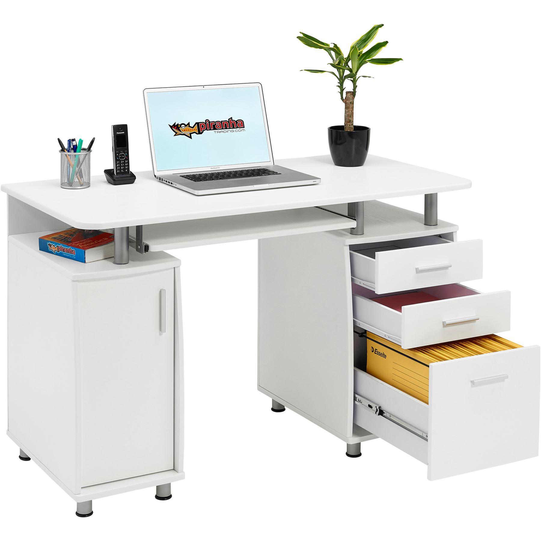 computer desk with storage a4 filing drawer home office piranha emperor pc 2s 5060230842318 ebay. Black Bedroom Furniture Sets. Home Design Ideas