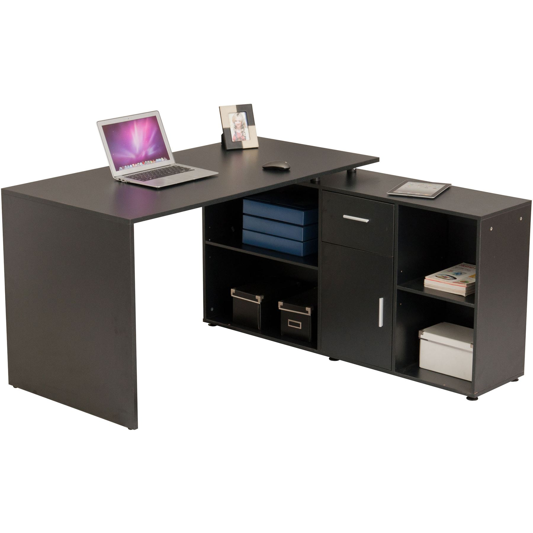Folding Home Office Corner Desk Storage Multi Option Assembly Piranha Furniture Ebay