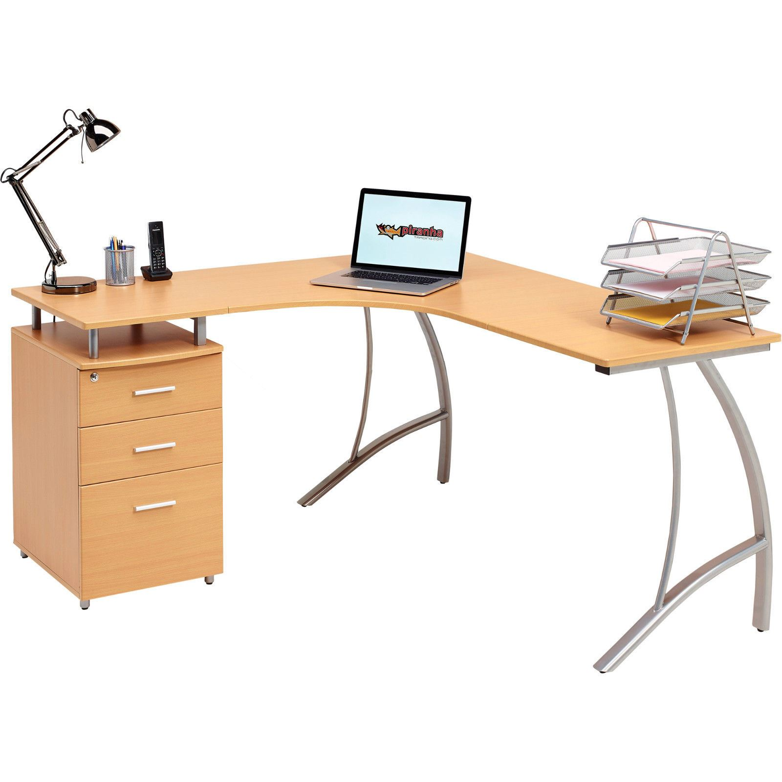 Home Office Corner Laptop Table W Drawers Piranha