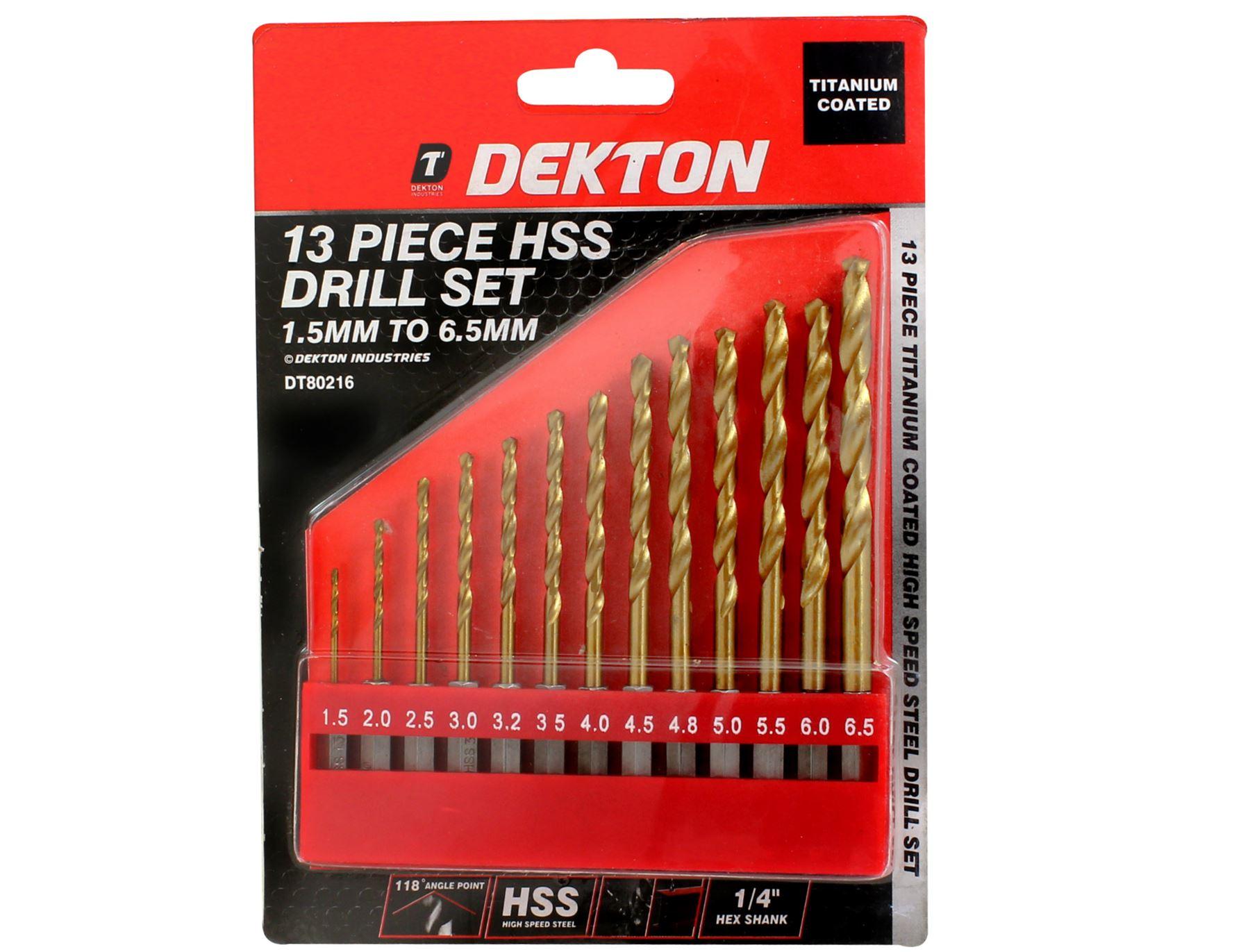 "Dekton 13pc HSS Drill Metal Bits Set Titanium Coated 1//4/"" Hex Fits Impact Driver"