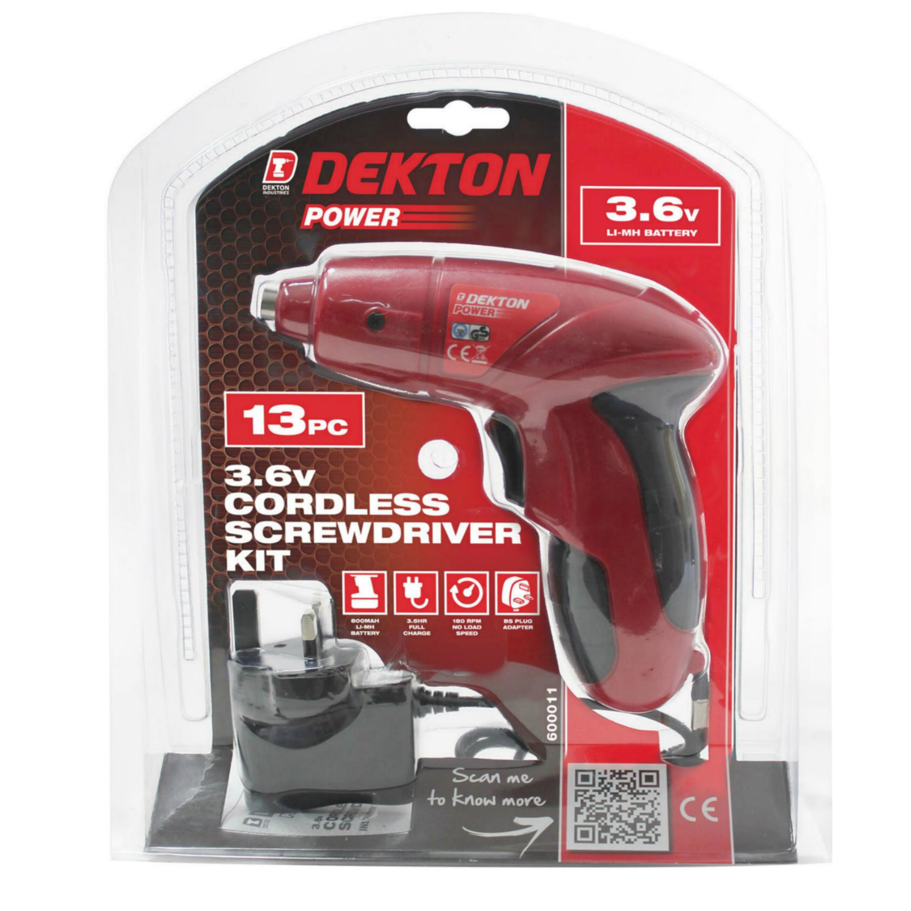 Dekton 13pc Rechargeable Cordless Screwdriver Set with Screw Bits and 3 Pin Plug