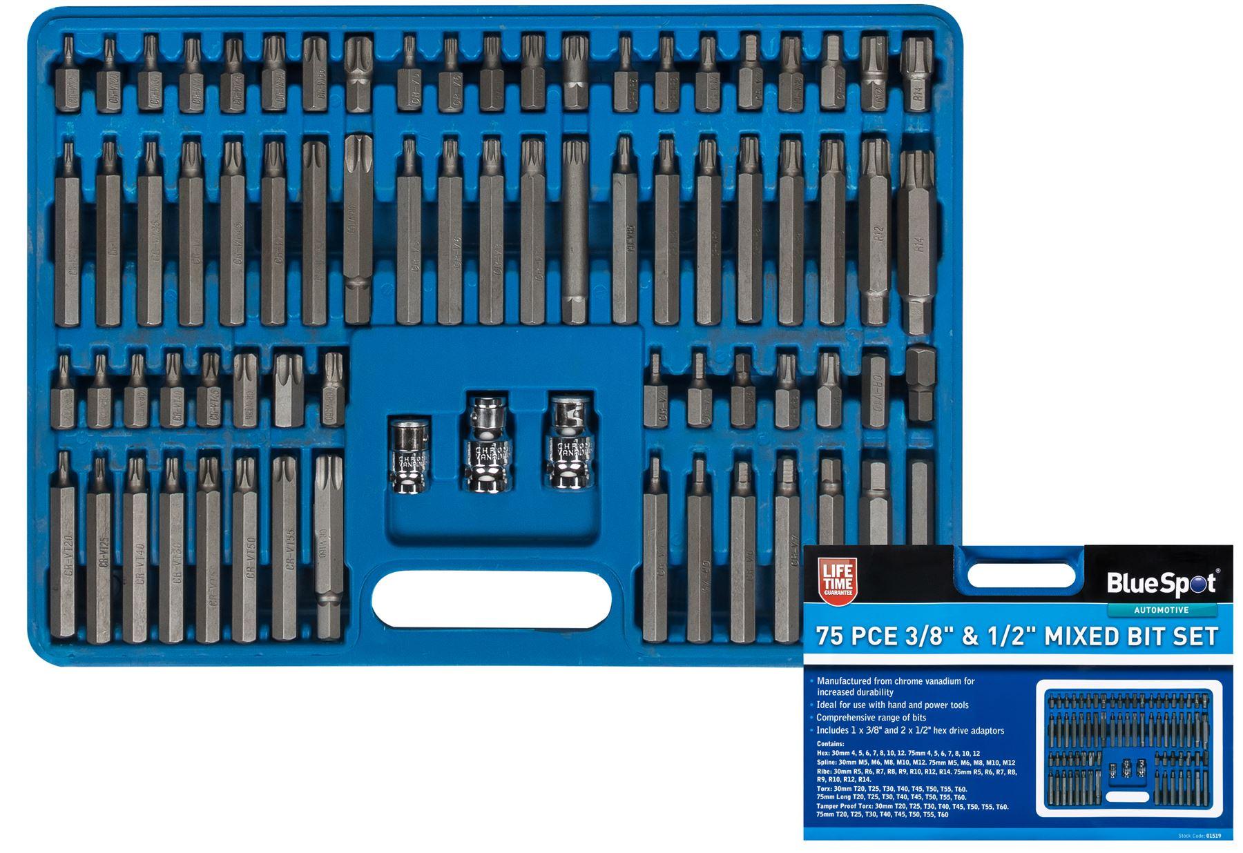 """BlueSpot 5pc Hex Socket Set H7-H14 Métrique 1//2/"""" DRIVE Clé allen sockets 01507"""