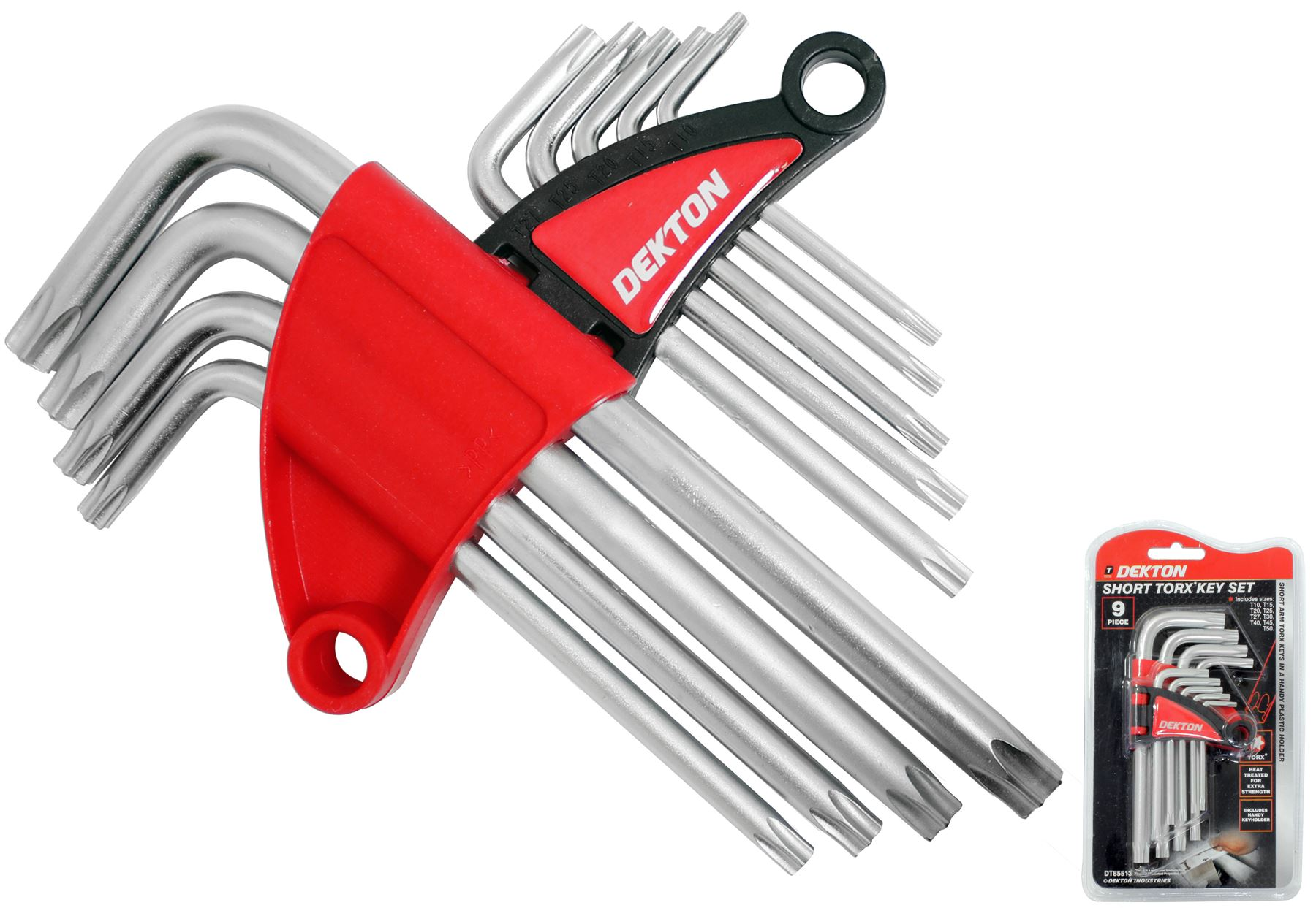 9 Pieces Security Torx Hex Key Wrench Set with Holes T10-T50 Short Arm