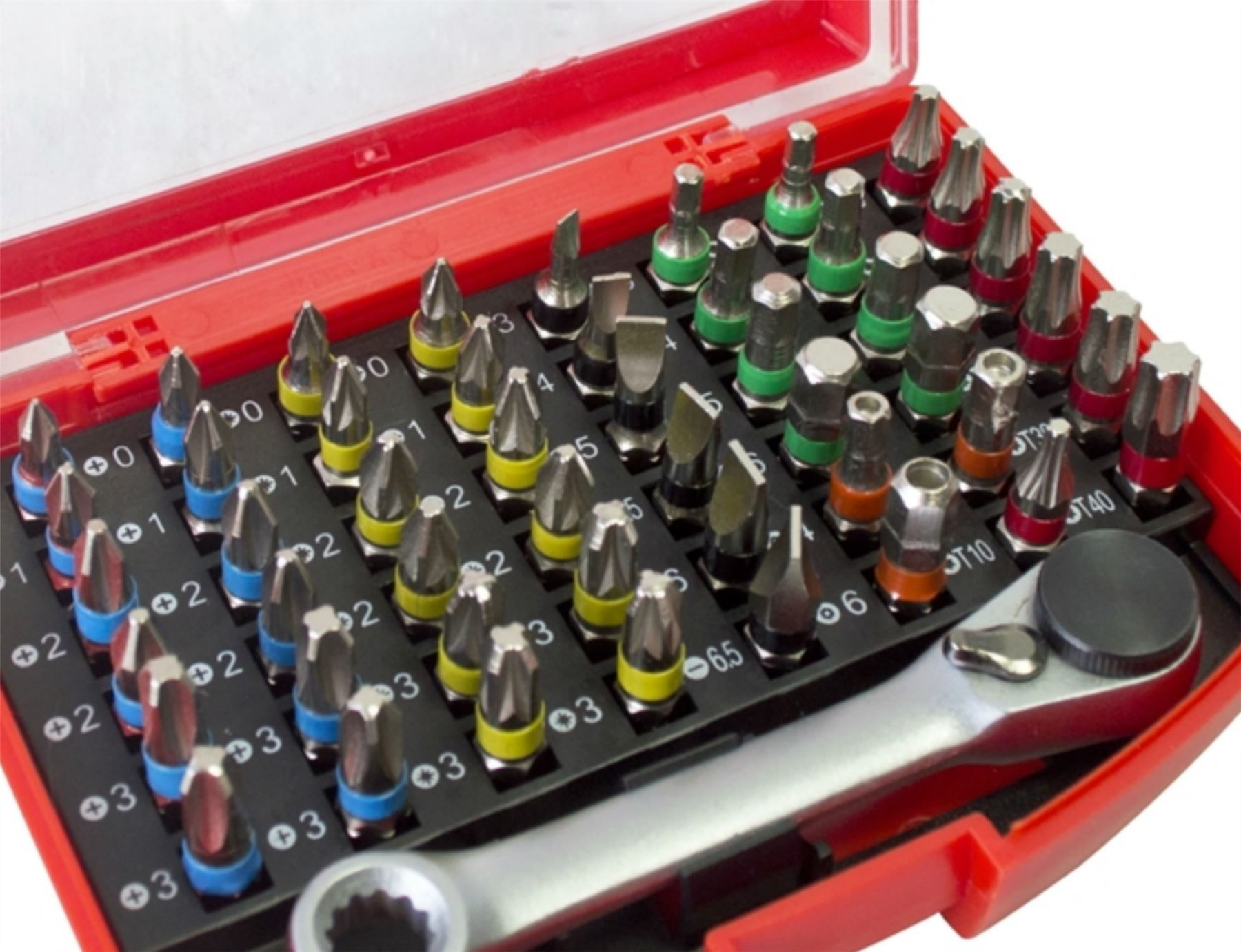 49pc Colour Coded Screwdriver Bits Set Case Slotted Pozi Hex Phillips Torx Box