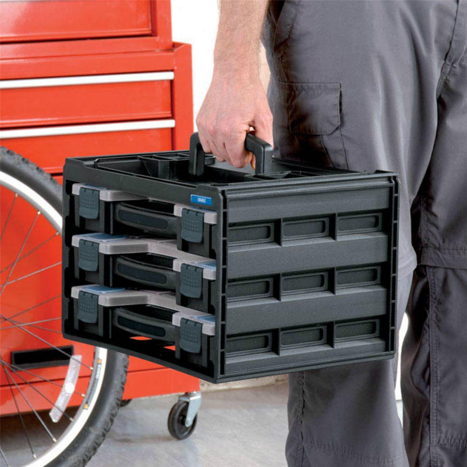 Draper 3 Tray Stacking Tool Box Garage Nuts Bolts Storage ...