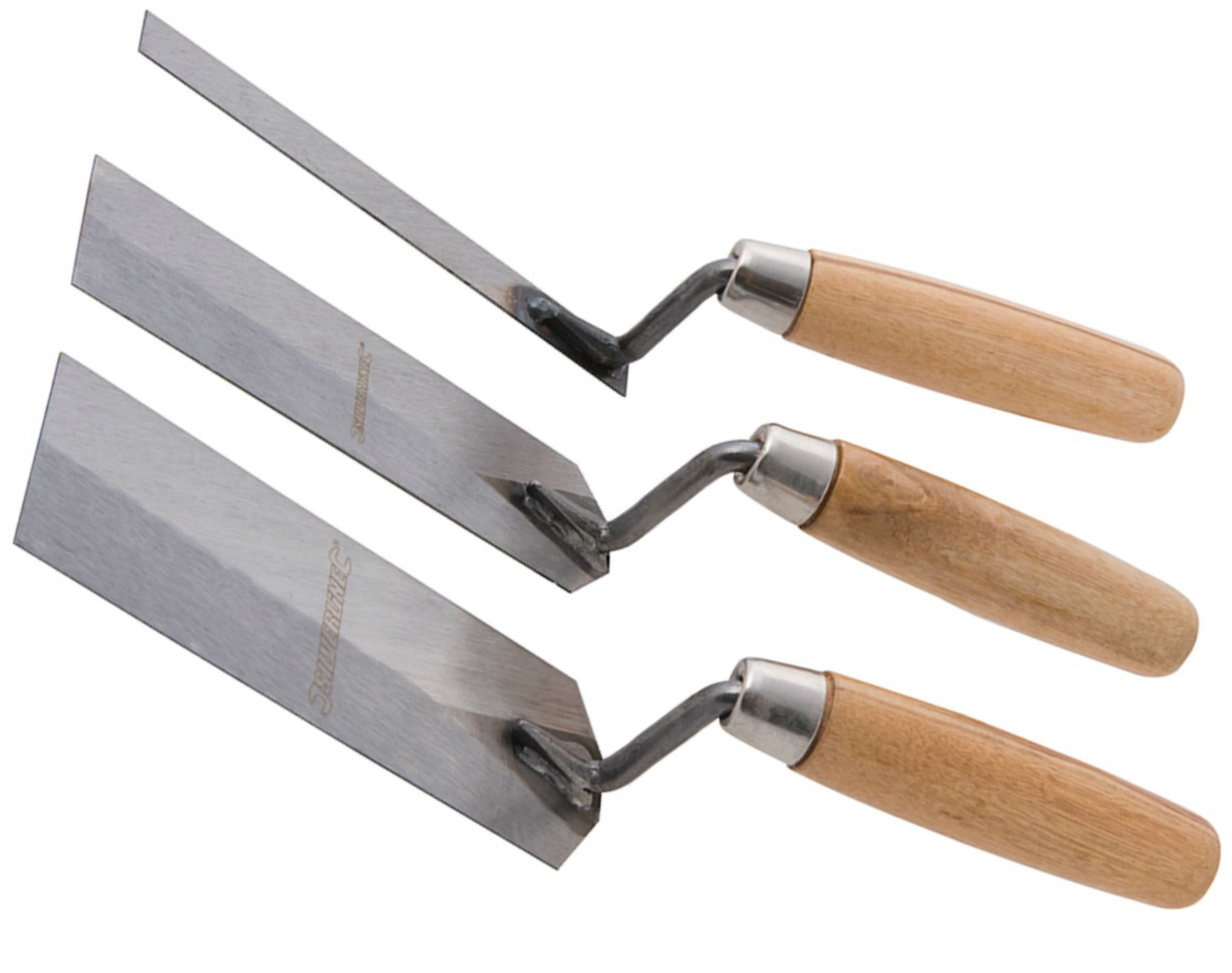 Silverline 3pc Margin Trowel Set Wooden Handle Plasterers Corner Plastering Tool