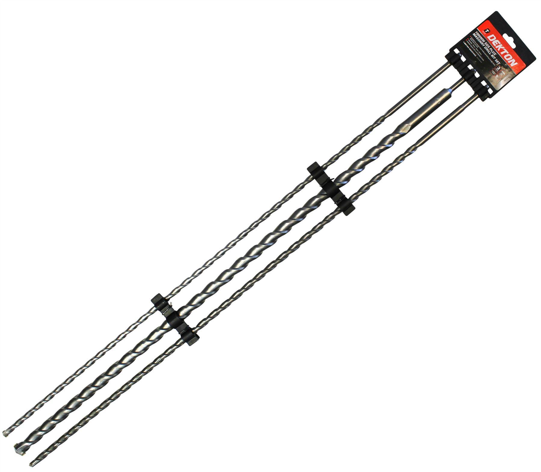 Dekton 3 SDS Plus Marteau Perceuse Embouts 12 mm 16 mm /& 24 mm x 1000 mm MAÇONNERIE /& BÉTON